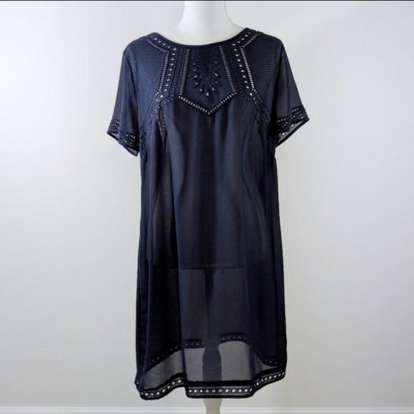 H&M Dresses & Skirts - H&M Navy Sheer Rayon Short Sleeve Tunic Dress